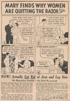 Men shrink from stubble on a woman's arms.