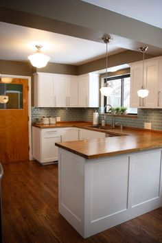 White kitchen with wood countertops, kitchen design, kitchen ideas, kitchen inspiration!