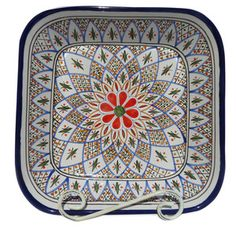 Tabarka Square Serving Bowl / Le Souk  Hand-Painted Tunisian Tableware