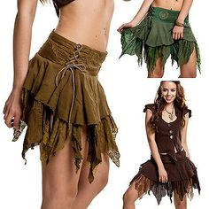 I love elven/pixie types of skirts. The frilly lace + layers looks really cute. Fairy Skirt, Fairy Dress, Psytrance Clothing, Nigerian Dress Styles, Nigerian Fashion, Boho Fashion, Fashion Dresses, High Fashion, Fashion Boots