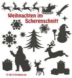 Weihnachten im-Scherenschnitt Silhouettes in solid fill - very attractive and lots of finished samples to look at. In German but the computer translates pretty well. Christmas Stencils, Christmas Templates, Christmas Printables, German Christmas, Christmas Art, Shilouette Cameo, Silhouette Pictures, Xmas Pictures, Xmas Stockings