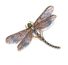 Art Nouveau Plique-à-jour enamel and diamond dragonfly brooch, circa 1900 -  The wings of pale lavender and turquoise plique-à-jour enamel edged in single-cut diamonds, the body set with old-mine and single-cut diamonds, the eyes of green chalcedony, mounted in gold and silver. | Sotheby's
