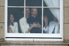 June 13, 2015  -   Photographers captured this silly behind-the-scenes moment of the 2015 Trooping the Colour.