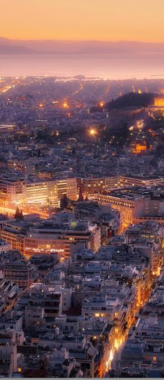 A View of Athens from Mount Lycabettus - City at night - Travel Photography