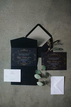 elegant black wedding invitation - photo by Karen Kristian Photography http://ruffledblog.com/smoke-and-mirrors-wedding-inspiration