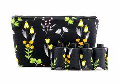 Essential Oil Bag,  Essential Oil Travel Bag, Essential Oil Pouch, Essential Oil Carry Bag, Essential Oil Wallet, Black Floral