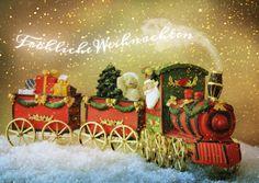 Der Weihnachtsmann kommt mit der Bahn   Frohe Weihnachten   Echte Postkarten…