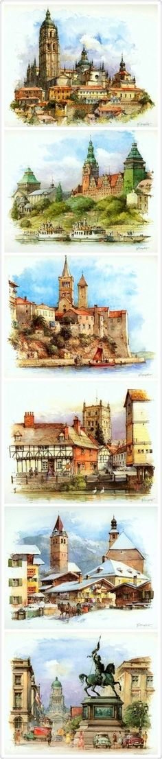 European architecture watercolor paintings