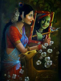 """"""" Æthereal Worship """" ~ Akâsh Dhåãm ∆The Æthereal Abode∆ Artwork Credit"""" Soul Connection by Artist Kamal Rao"""" __()__ Love Radha Krishna Pictures, Radha Krishna Photo, Krishna Photos, Krishna Art, Radhe Krishna, Shree Krishna, Lord Krishna Wallpapers, Radha Krishna Wallpaper, Famous Indian Artists"""