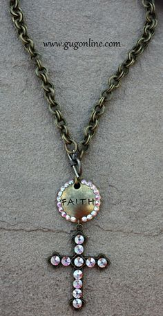 AB Crystals on Faith and Cross Bronze Chain Necklace  Save 10% by using promo code GUGREPBRITT at checkout!  www.gugonline.com