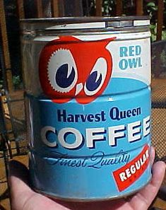 VINTAGE 1950s RED OWL 2 Pound Keywind Coffee Tin Can by CANCO with Original Lid