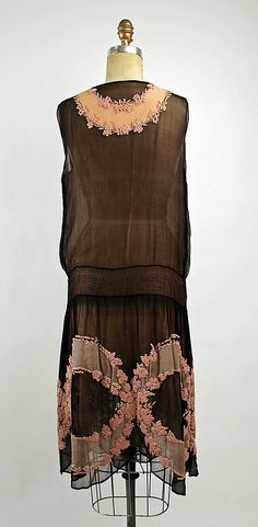 1926 silk dress, French (back view).