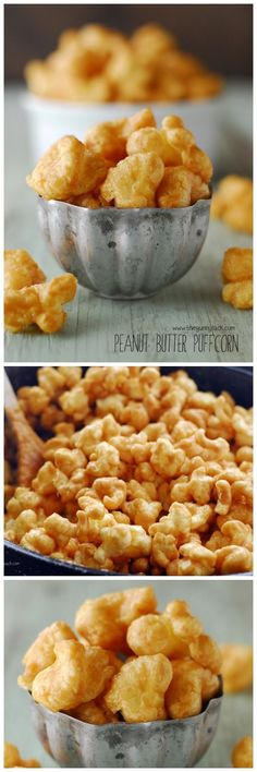 Peanut Butter Puffcorn is like caramel popcorn with the delicious addition of peanut butter! Love this as a dessert or as a snack. It makes for pretty great game day food too! Appetizer Recipes, Snack Recipes, Dessert Recipes, Cooking Recipes, Appetizers, Yummy Snacks, Delicious Desserts, Yummy Food, Tasty