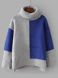 SheIn offers Colorblock D. SheIn offers Colorblock Drop Shoulder High Low Sweater & more to fit your fashionable needs. Style Feminin, Baby Pullover, Color Blocking, Fall Outfits, Knitwear, Knitting Patterns, Knit Crochet, High Low, Sweaters