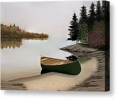 Beached Canoe In Muskoka Painting by Kenneth M  Kirsch - Beached Canoe In Muskoka Fine Art Prints and Posters for Sale