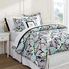 Girls Dorm Duvet Covers & Dorm Room Bedding for Girls   PBteen, but with black bed skirt and bed