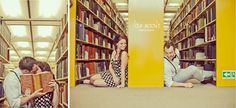 Engagement photos in library! Perfect for a couple of nerds.