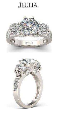 Two-skull Design Round Cut Created White Sapphire Rhodium Plated Sterling Silver Skull Ring #jeulia