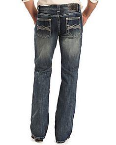 Rock & Roll Cowboy Men's Medium Wash Criss Cross Embroidered Boot Cut Jeans  #MOP7427  $79.99