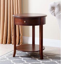 Brown Finish End Table W Drawer Bottom Shelf Accent Table Livingroom Lamp Table  #AbbysonLiving #ContemporaryTransitional #Furniture #Table #Drawer #LivingRoom