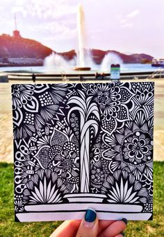 This is a photo of a hand drawn design made in sharpie on Bristol board. The print is will be on quality 6 by 6 paper!
