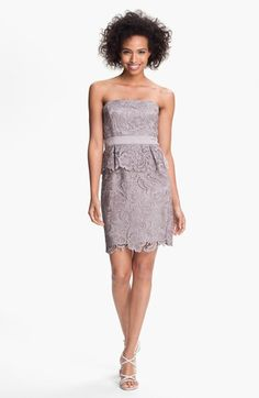 Adrianna Papell Strapless Lace Peplum Dress | Nordstrom