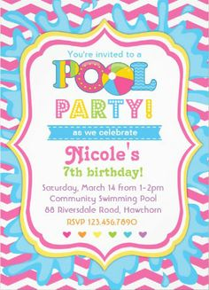 Girl's Pool Party Invitations. A breeze to customize! #pool_party_invitations