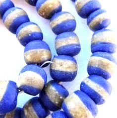 Blue Krobo Beads Handmade Beads African Beads by BeadsNTrinkets