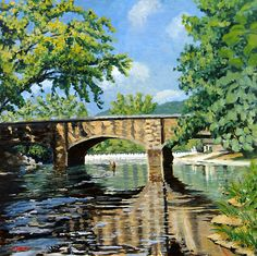 Landscape Painting  Fishing Bennett Springs  11 X 14 by dfishbac, $39.99
