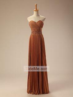 Sweetheart Brown Chiffon Pretty Ruched Sheath Floor Length Prom Dress Evening Dress Bridesmaid Dress