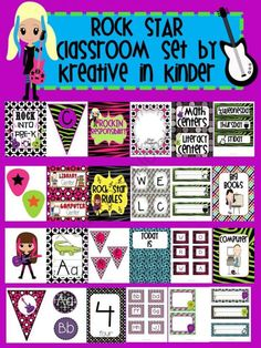 Rock Star Classroom Theme Decor for Beginning of the Year from Kreative in Kinder on TeachersNotebook.com (165 pages)