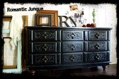 www.RomanticJunqu..., old world charm, dark romance inspired, vintage, nostalgic, romantic, black, distressed, buffet, antique, console, dresser, painted, goth romance, home, bedroom, entry