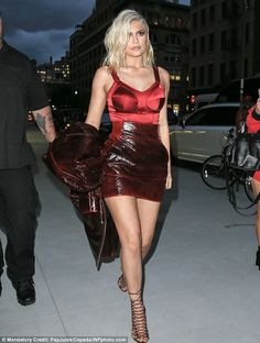 Blonde bombshell: Kylie Jenner stepped out in a racy red outfit in New York and showed off her freshly dyed locks