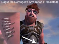 Dagur's arm tattoo translated from race to the edge the netflix show.