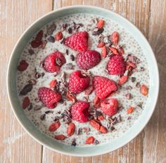 Deliciously Ella | Date & Chia Pudding  Serves 1  INGREDIENTS: 4 tablespoons of chia seeds 250ml of almond milk 1 teaspoon of date nectar/syrup  2 tablespoons of coconut yoghurt