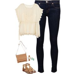 Lace chiffon top, sea green earrings and Tory burch sandals by steffiestaffie on Polyvore featuring RED Valentino, J Brand, Tory Burch, John Lewis, Michael Kors and Kendra Scott