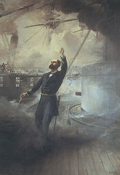 """chucrutypilsen: """" The Heroic Death of Arturo Prat at the Battle of Iquique. Muerte de Arturo Prat- Thomas Somerscales """"…The position of the Esmeralda was desperate when it began to receive both. War Of The Pacific, Fantasy Character, Naval History, Armada, Napoleonic Wars, Old Master, Military Art, Contemporary Art, Battle"""