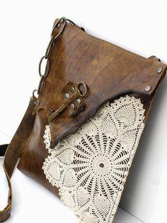 Original Boho Leather Messenger Bag with Crochet Doily and Antique Key - Medium - Made To Order Antique Keys, Vintage Keys, Leather And Lace, Estilo Hippie, Boho, Crochet Doilies, Crochet Lace, Vintage Crochet, Mode Style