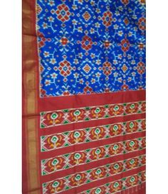Blue Pure Handloom Ikkat Pochampally Silk Saree---Add A Small Burst Of Shade Inside Your Wardrobe With This Alluring Blue & red Pochampally silk saree. ------Sarees from luxurionworld.com