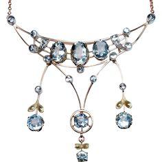 Antique Edwardian Era Aquamarine 14K Gold Pendant Necklace from romanovrussia on…
