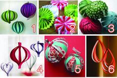 Décoration de noël en papier (boule, fleur, coeur) Free DIY, tutoriel gratuit. Christmas paper ornament