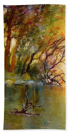 Autumn Landscape Bath Towel featuring the painting River Rhine in Autumn by Sabina Von Arx Autumn Forest, Warm Autumn, Watercolor Paintings, Original Paintings, Autumn Lights, Autumn Scenery, Over The River, Beautiful Paintings, Great Artists
