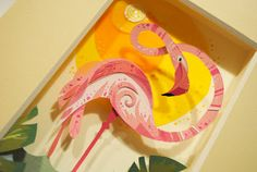 The main artistic influence for this piece is definitely going to be the work of Brittney Lee (artist of the Little Mermaid picture). Having discovered the art of papercraft in 2009 she has made qu… Cut Paper Illustration, Flamingo Illustration, Brittney Lee, I Like Birds, Papier Diy, Flamingo Art, Pink Flamingos, Mermaid Pictures, Collage Techniques