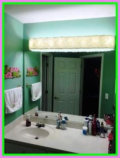 Decors: Professional Grade Of Vanity Girl Hollywood Mirror . DIY Vanity Mirror With Lights For Bathroom And Makeup Station. DIY Vanity Light Shade Dowel Rods And A Curtain Sheer Hot . Home and Family Diy Bathroom, Hollywood Vanity Lights, Diy Light Shade, Bathroom Cabinet Makeover, Diy Shades, Trendy Bathroom, Bathroom Design, Shade Cover, Vanity Light Shade