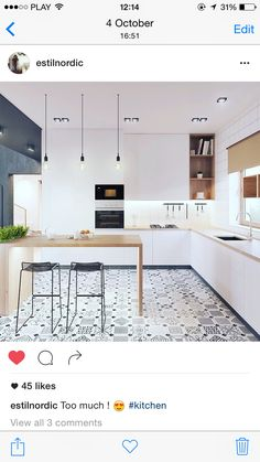 A beautiful modern kitchen design often comes from the influence of a well-planned TV set, movie, or even one seen on a website or a magazine. Best Kitchen Designs, Modern Kitchen Design, Interior Design Kitchen, Interior Decorating, Modernisme, Scandinavian Kitchen, Kitchen Flooring, Cool Kitchens, Interior Architecture