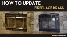 I don't know about you, but brass just isn't my favorite look. Nothing seems to date my living room fireplace more than the lovely brass tri. Brass Fireplace Makeover, Brass Fireplace Screen, Fireplace Trim, Fireplace Fronts, Fireplace Doors, Fireplace Update, Paint Fireplace, Fireplace Cover, Concrete Fireplace