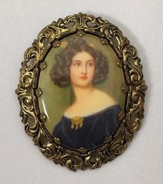 Vintage Western Germany Portrait Cameo Pin Brooch Victorian Woman Brunette