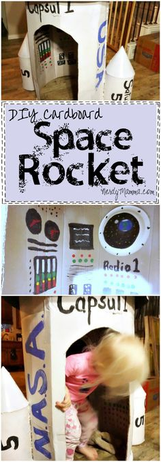 This tutorial for making your own cardboard space rocket is so EASY! I had no idea.So maybe this weekend (Bottle Rocket For Kids)