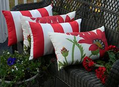 Set of 4 Indoor  Outdoor Decorative Lumbar  Rectangle Pillows  2 Red Poppy Flower on Ivory Background Floral Fabric  2 Red and Ivory Stripe ** BEST VALUE BUY on Amazon  #OutdoorSwings