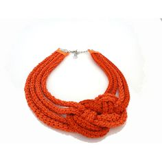 Orange Tangerine Sailor's Knot Nautical Crochet Collar Necklace ($55) ❤ liked on Polyvore